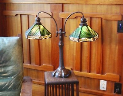 Handel Double student desk,table lamp, mission,arts and crafts