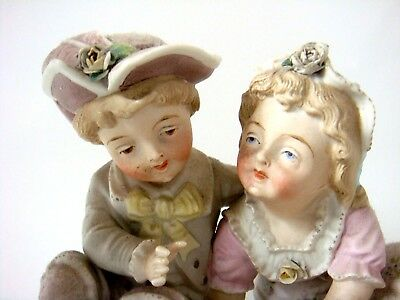 Jean Gille - Vion & Baury Type Bisque Figure Group - Boy & Girl Playing A Game