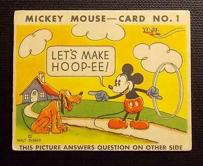 1935 R89 Mickey Mouse Gum Card - Card No. 1 Type I Let's Make Hoop-Ee!
