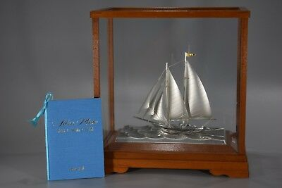 Silver Sail Boat 2mast 5in. Yacht Wood Display w/Glass case Ship Japan Antique