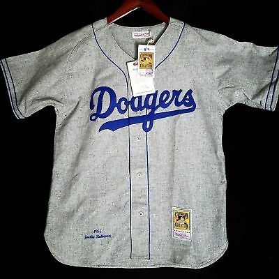 100% Authentic Jackie Robinson Mitchell Ness Dodgers 1955 Jersey Size 36 S Mens