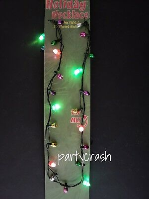 Light Up Christmas Necklace LED Xmas Bulbs  Kids Adult Party Favors