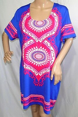 Magic Women Plus Size 1x 2x 3x Blue Pink Fuchsia Floral Summer Sun Work Dress