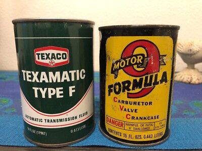 LOT OF 2 FULL NOS 1930's Motor Formula 9 TEXACO Metal Oil Can FORD Sign