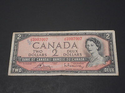 1954 Canada Two Dollar Bank Note Serial #J/G 3907007