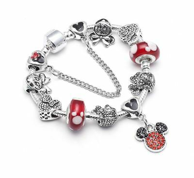 Disney Inspired Mickey Minnie Mouse Charms Bracelet with Charms Christmas Gift