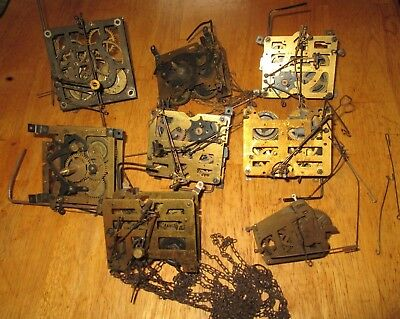 LOT OF 7 vintage BLACK FOREST CUCKOO CLOCK WALL MOVEMENTS GERMANY FOR PARTS