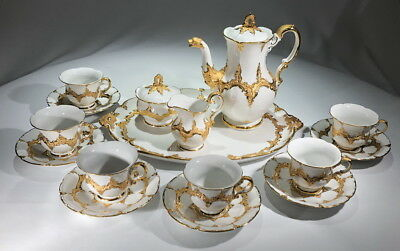 Rare MEISSEN Antique B-Form Coffee SET Dragon Heavy Gilding 6 CUPS Plus Must See