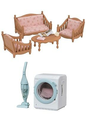 Two Sylvanian Families Toys – Armchair with Sofa Set and Washing Machine Set