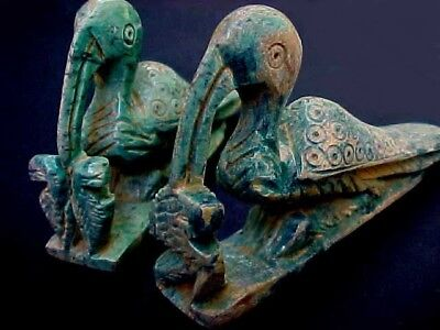 2 Ancient Antique Egyptian Faience Ushabti Statue Figurines of Ibis Birds