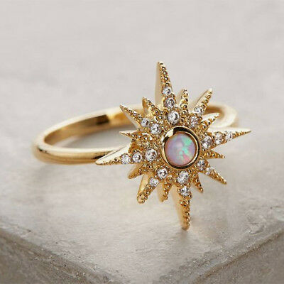 Ring Retro Elegant Gold Filled Jewelry 1PC Wedding Women Fire Opal CZ Band