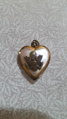 WWII Army Sweetheart Locket Vintage Mother of Pearl/Gold - No Chain