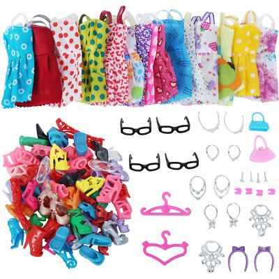 Doll Accessories Mini Dress Shoes Necklaces Glasses Clothes Girls Toy Gift 30pcs