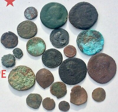 Nice Lot Of 20 Uncleaned Ancient Roman Miscellanies Coins Mixed Sizes And Grade