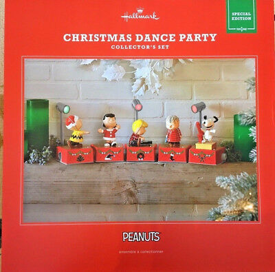 2017 PEANUTS CHRISTMAS DANCE PARTY Hallmark COLLECTOR'S SET Snoopy Charlie Brown