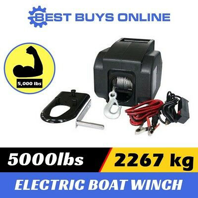 Electric Boat Winch 5000 lbs Portable Detachable 12V ATV 4wd Trailer