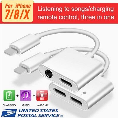 For iPhone X 8 7 Plus IOS 10.3 IOS 11 Aux Audio Charge Adapter Cable Dongle USA
