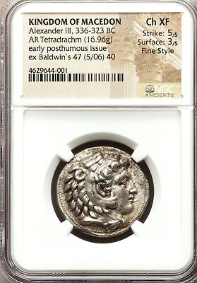 NGC Ch XF 5/5-3/5, Fine Style. Alexander the Great. Tetradrachm. Greek Silver.