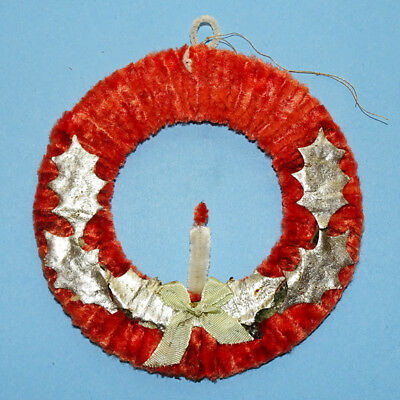 Vintage Occupied Japan Red Chenille Wreath Christmas Tree Ornament with Candle