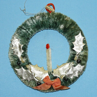 Vintage Occupied Japan Blue Chenille Wreath Christmas Tree Ornament with Candle