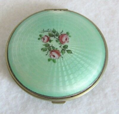 Beautiful Vintage Green Enamel Guilloche Compact with Roses