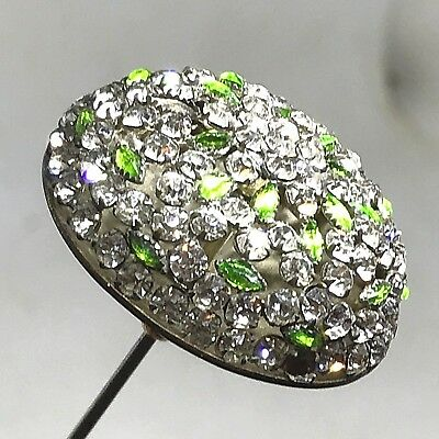 Antique Hat Pin. Apple-Green Marquise & Flashing, Round Rhinestones. A Beauty!