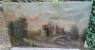 Antique Oil On Canvas Painting Signed Collins Dated 1915 Castle Riverbank 12x20