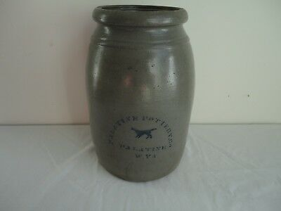 Antique PALATINE POTTERY CO. WEST VIRGINIA Stoneware Crock with Stenciled DOG