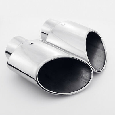 """2 1//2/""""x 3 1//2 /""""x 22/""""  304 STAINLESS ROLLED EDGE ANGLE CUT EXHAUST TIPS-2 PCS"""