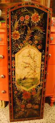 "56"" Vintage JAPANESE HAND PAINTED Lacquered Wood WALL HANGING PANEL Bird Flowers"