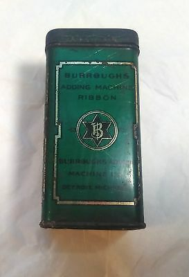 Vintage Burroughs Adding Machine Ribbon Tin, Green Lithographed Advertising