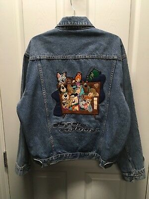 WB Men's Warner Bros Classic Cartoons Embroidered Denim Jacket Size Medium