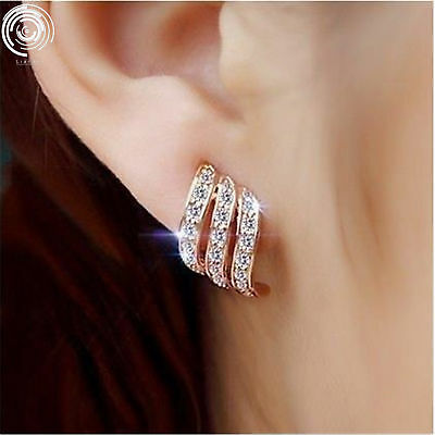 Silver/Rose Gold Angel Wings White Sapphire-Studded Personality Stud Earrings