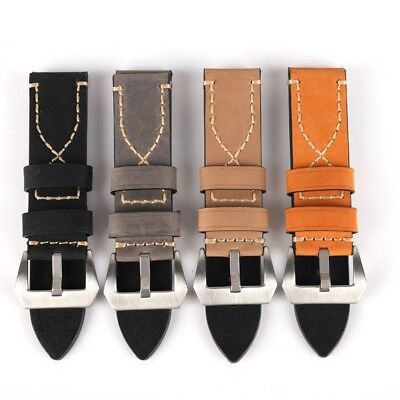 Replacement Unisex Genuine Leather Wrist Watch Band Strap 20mm/22mm/24mm/26mm