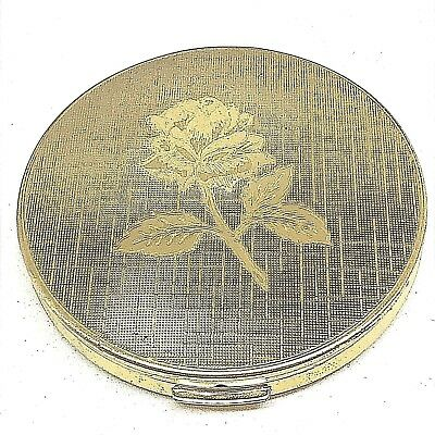 Vintage Melissa Powder Compact. Lush,Golden Rose on Textured Background. Lovely!