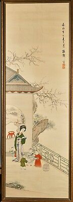 Antique Japanese Chinese Silk Scroll Painting Seal Mark 19th Century, 1851
