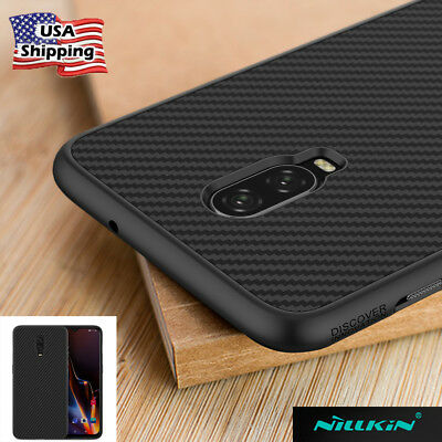For OnePlus 6T Nillkin Synthetic Carbon Fiber Series Shockproof Back Case Cover