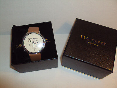 NIB $155 Ted Baker JAMES Stainless Steel BROWN LEATHER STRAP Men's Watch