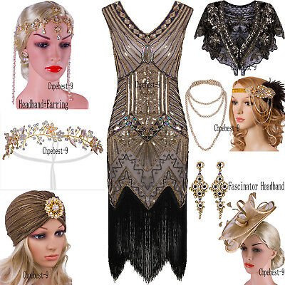 1920s Flapper Dresses Vintage Style Great Gatsby Party Christmas Costumes XS-XXL