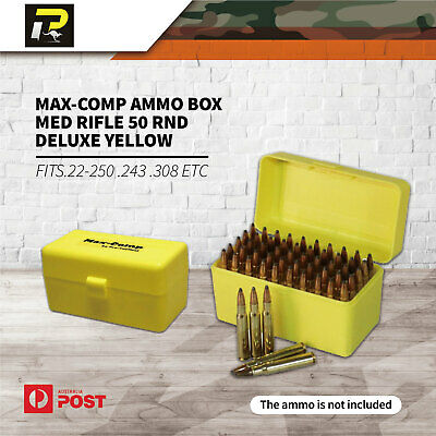 Max-Comp Ammo Box MED Rifle 50 rnd Deluxe Yellow fits .22-250 .243 .308 etc