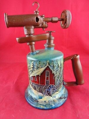 Vtg Hand Painted Wood Metal SPRAY PAINTER Country Mill Farmhouse, Bernz Co., NY