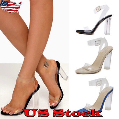 Women Block High Heels PVC Ankle Strap Sandals Clear Transparent Shoes Party USA