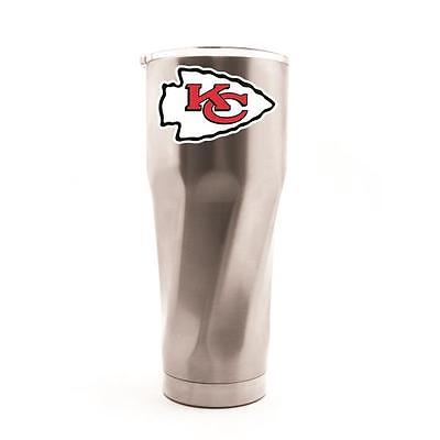 Kansas City Chiefs STAINLESS STEEL TRAVEL TUMBLER WITH SWIRL BASE & CLEAR LID