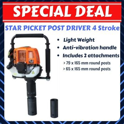Post Driver Star Picket Petrol 4 Stroke Heavy Duty Farm Fencing