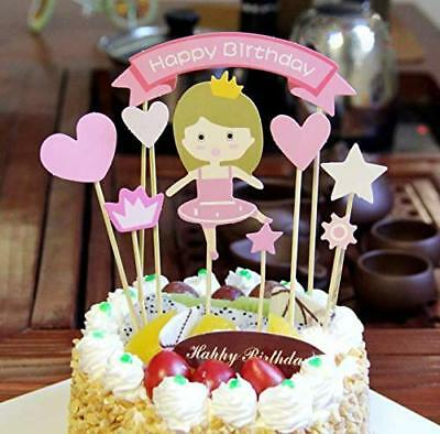PureArte Happy Birthday Cake Topper For Girls Party Decoration Pink Princess