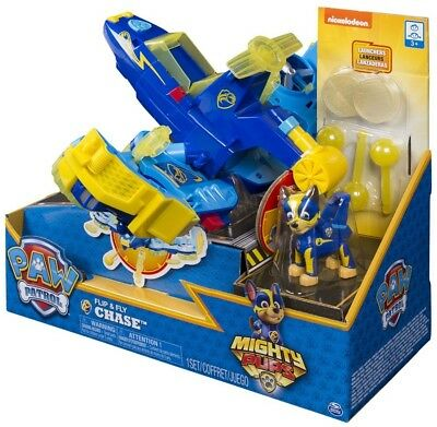 Paw Patrol Mighty Pups Flip & Fly Chase Transforming Vehicle & Figure
