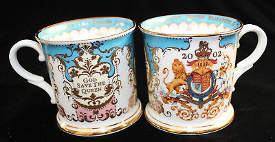 Pair of The Royal Collection Golden 2002 Jubilee Fine Bone China Souvenir Mugs