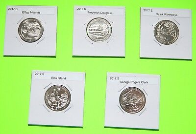 2017 S America The Beautiful Quarters(ATB) 5 Coin Set-Mint Bags-Free Shipping