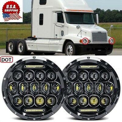 2x 85W 7inch Round Black Cree Led Headlight Hi-Lo Beam For Freightliner Century