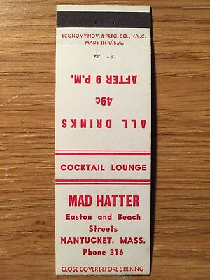 Vintage Matchbook Cover - The Mad Hatter Cocktail Lounge, Nantucket, MA (1950s?)